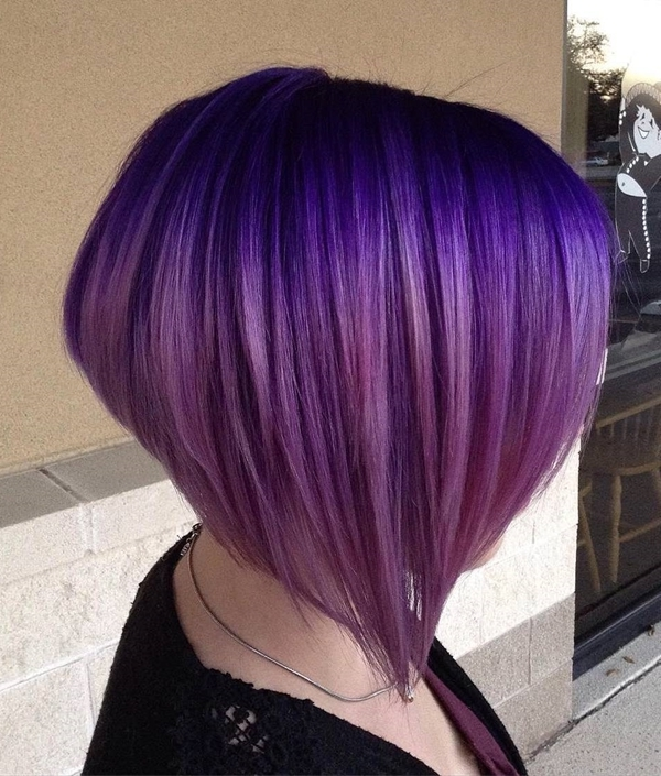 45+ Best Hairstyles Using The Fashionable Shade Of Purple Pertaining To Blonde Bob Hairstyles With Lavender Tint (View 20 of 25)