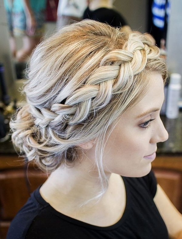 45 Brilliant Braided Updo Styles For Any Hair Type – Hairstylecamp Pertaining To Platinum Braided Updo Blonde Hairstyles (View 3 of 25)
