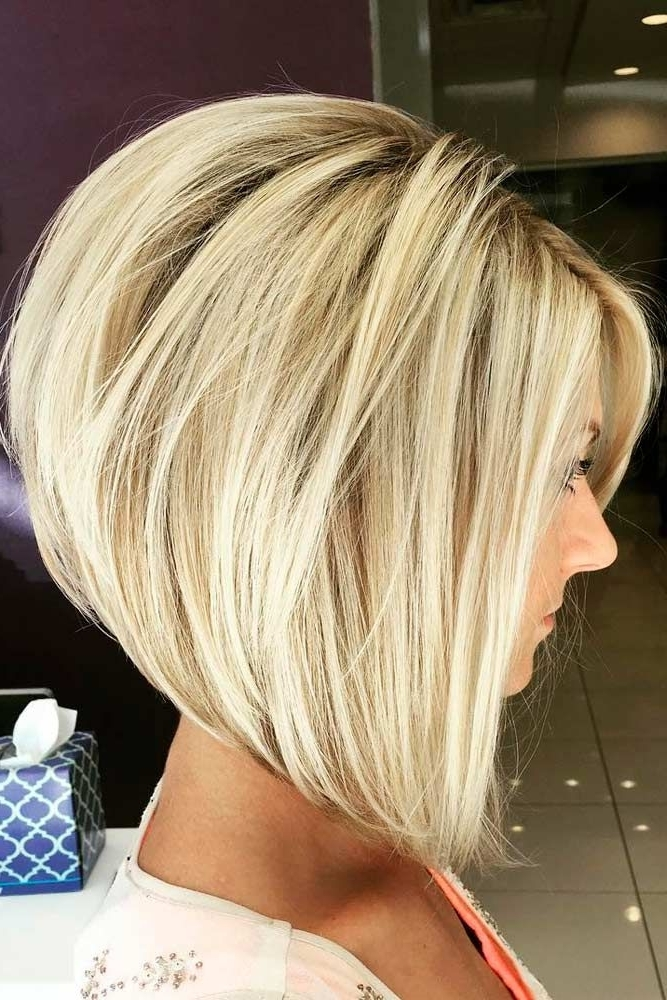 45 Fantastic Stacked Bob Haircut Ideas | All About Fashion Intended For Asymmetry Blonde Bob Hairstyles Enhanced By Color (View 14 of 25)