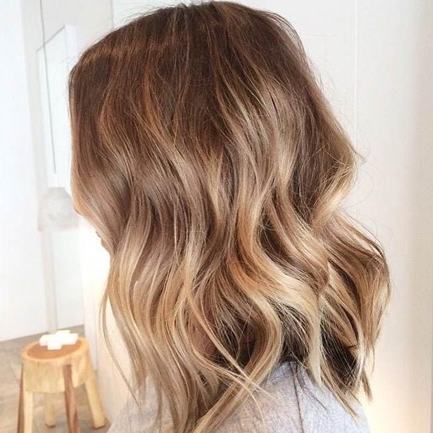 47 Hot Long Bob Haircuts And Hair Color Ideas | Curly Lob, Balayage Regarding Brown Blonde Balayage Lob Hairstyles (View 3 of 25)