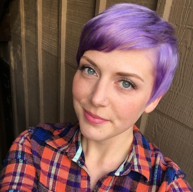 48 Irresistibly Beautiful Purple Hair Color Styles | Hairstylo Inside Platinum And Purple Pixie Blonde Hairstyles (View 17 of 25)
