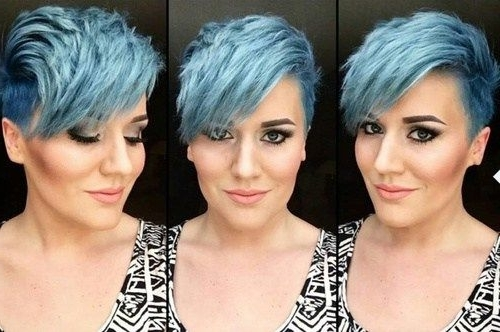 Featured Photo of Funky Blue Pixie Hairstyles With Layered Bangs