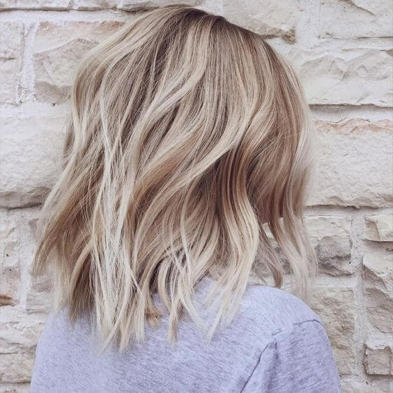 50 Fresh Short Blonde Hair Ideas To Update Your Style In 2018 Inside Ash Blonde Lob With Subtle Waves (View 14 of 25)