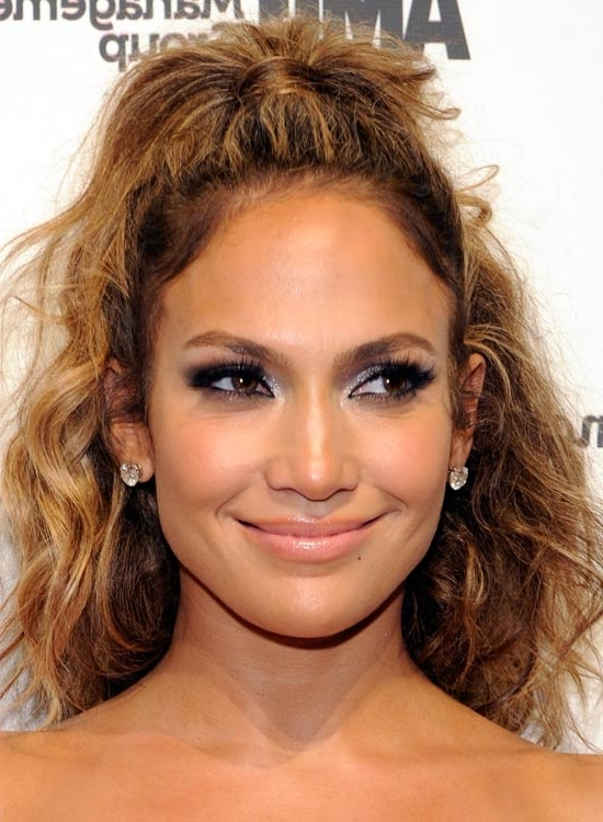 50 Hairstyles For Frizzy Wavy Hair Regarding Half Up Curly Do Ponytail Hairstyles (View 23 of 25)