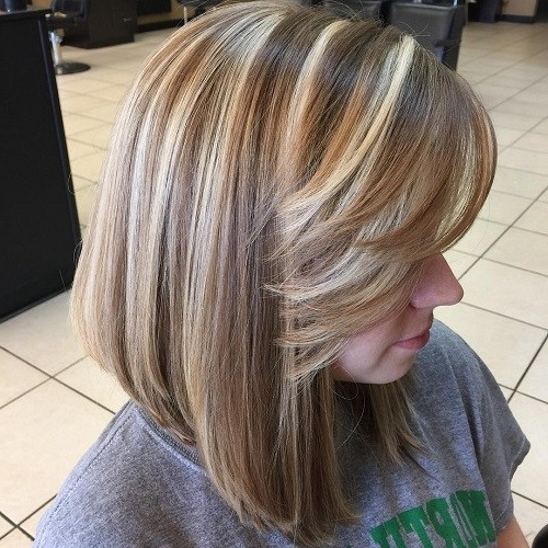 50 Inspiring Long Bob Hairstyles And Haircuts – Page 9 – Foliver Blog Pertaining To Caramel Blonde Lob With Bangs (View 18 of 25)