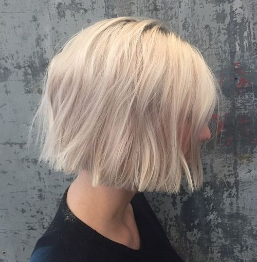 50 Messy Bob Hairstyles For Your Trendy Casual Looks | Messy Bob Within White Blunt Blonde Bob Hairstyles (View 15 of 25)