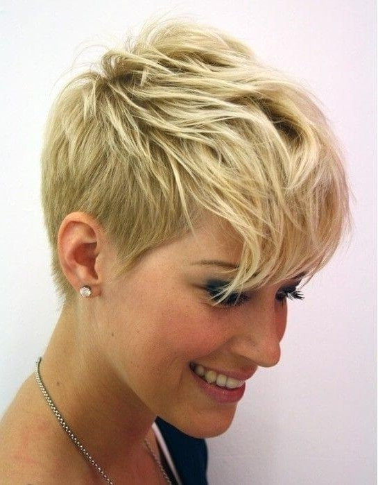 2018 Best Of Blonde Pixie Hairstyles With Short Angled Layers