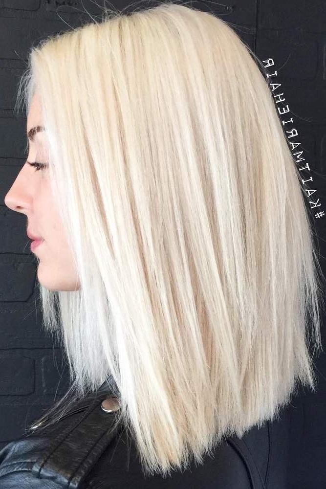 50 Platinum Blonde Hair Shades And Highlights For 2018 | Hair For Blunt Cut White Gold Lob Blonde Hairstyles (View 7 of 25)