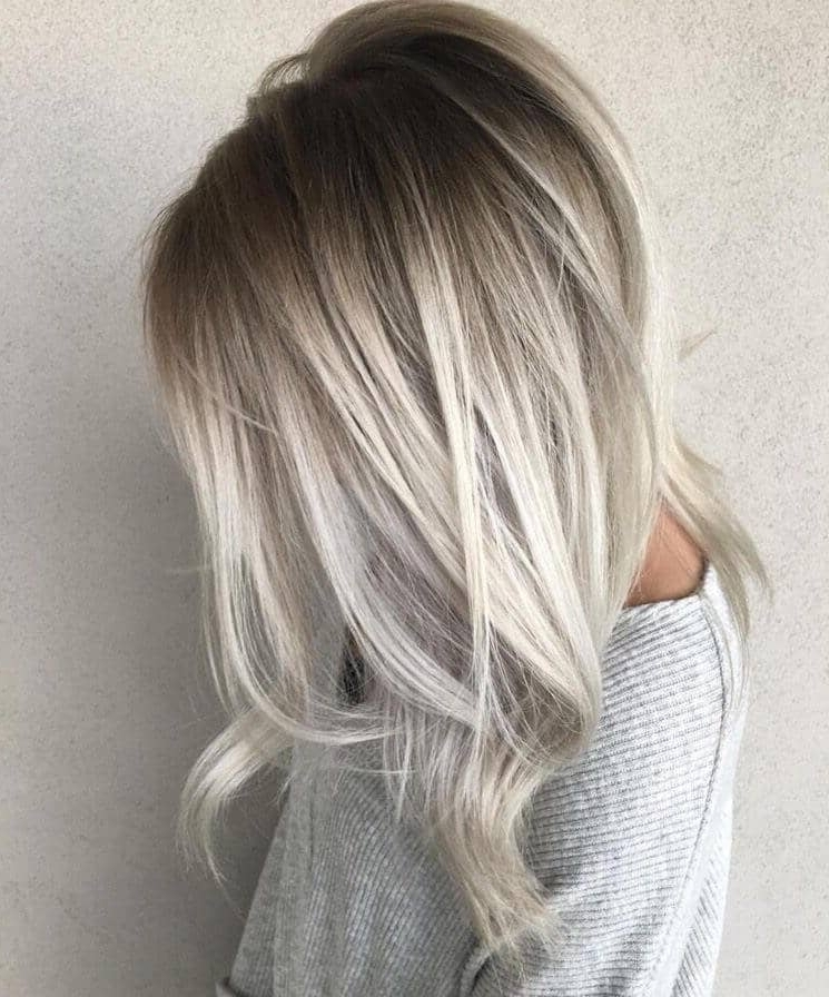 50 Platinum Blonde Hairstyle Ideas For A Glamorous 2018 Regarding Platinum Blonde Hairstyles With Darkening At The Roots (View 6 of 25)