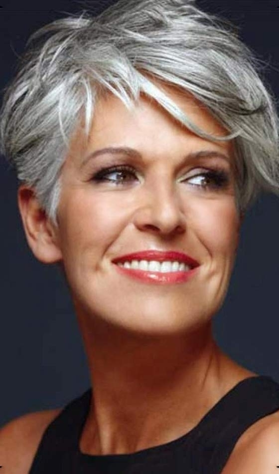 50 Short And Stylish Hairstyles For Women Over 50 Within 2018 Cropped Tousled Waves And Side Bangs Hairstyles (View 21 of 25)