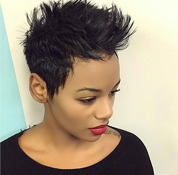 50 Short Hairstyles For Black Women | Stayglam For Recent Long Honey Blonde And Black Pixie Hairstyles (View 17 of 25)