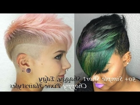 50+ Simple Short Shaggy, Edgy, Choppy Pixie Hairstyles – Youtube Regarding 2018 Choppy Asymmetrical Black Pixie Hairstyles (View 15 of 25)