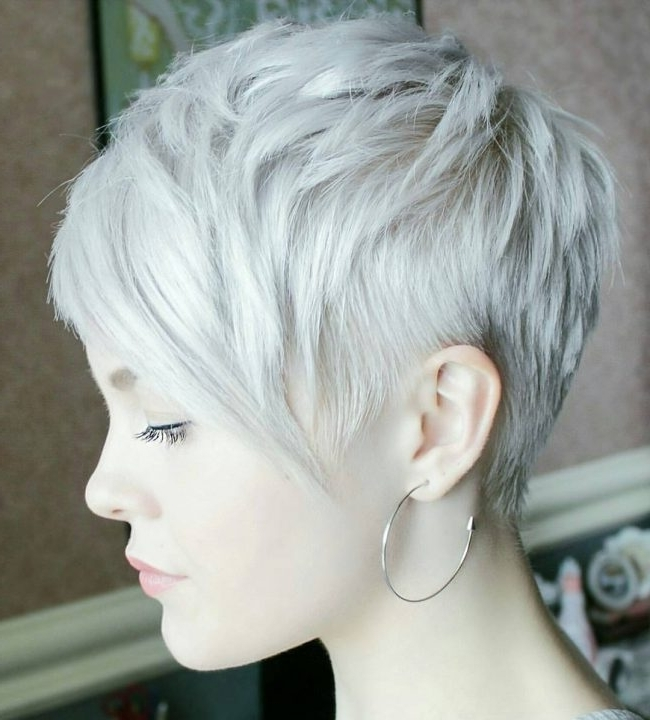 50 Trendy Short And Long Pixie Haircut Styles — Cutest Of All! With Regard To Newest Gray Blonde Pixie Hairstyles (View 9 of 25)