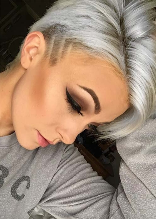 51 Edgy And Rad Short Undercut Hairstyles For Women – Glowsly Pertaining To White Blonde Hairstyles With Dark Undercut (View 9 of 25)