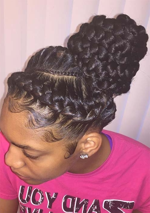 53 Goddess Braids Hairstyles – Tips On Getting Goddess Braids Inside Reverse French Braids Ponytail Hairstyles With Chocolate Coils (View 10 of 25)