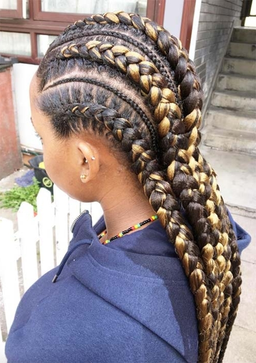 53 Goddess Braids Hairstyles – Tips On Getting Goddess Braids With Regard To Reverse French Braids Ponytail Hairstyles With Chocolate Coils (View 14 of 25)
