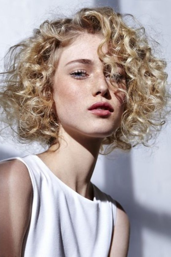 54 Nice Cute Curly Hairstyles For Medium Hair 2017 | Haircuts And Pertaining To Medium Blonde Bob With Spiral Curls (View 4 of 25)