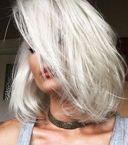 55 Cute Bob Hairstyles For 2017: Find Your Look Within Icy Blonde Shaggy Bob Hairstyles (View 16 of 25)