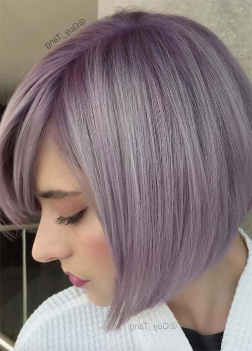 55 Incredible Short Bob Hairstyles & Haircuts With Bangs | Fashionisers For Blonde Bob Hairstyles With Lavender Tint (View 23 of 25)
