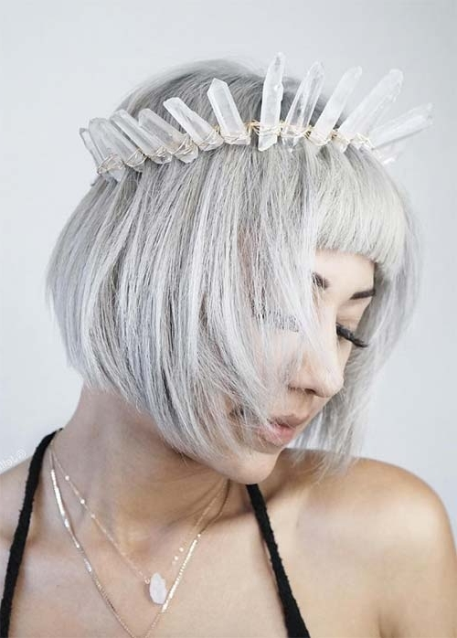 55 Incredible Short Bob Hairstyles & Haircuts With Bangs | Fashionisers Intended For Silver Bettie Blonde Hairstyles (View 21 of 25)