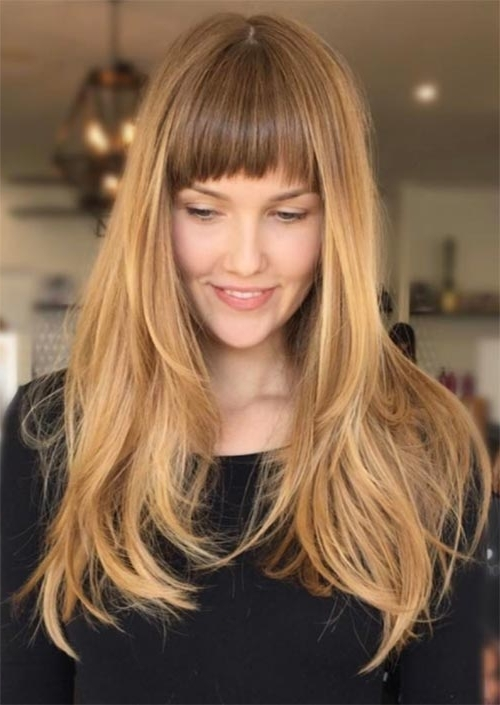 55 Long Haircuts With Bangs For 2018: Tips For Wearing Fringe Throughout Feathered Cut Blonde Hairstyles With Middle Part (View 15 of 25)