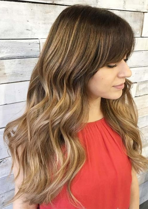 55 Long Haircuts With Bangs For 2018: Tips For Wearing Fringe With Regard To Sun Kissed Blonde Hairstyles With Sweeping Layers (View 14 of 25)