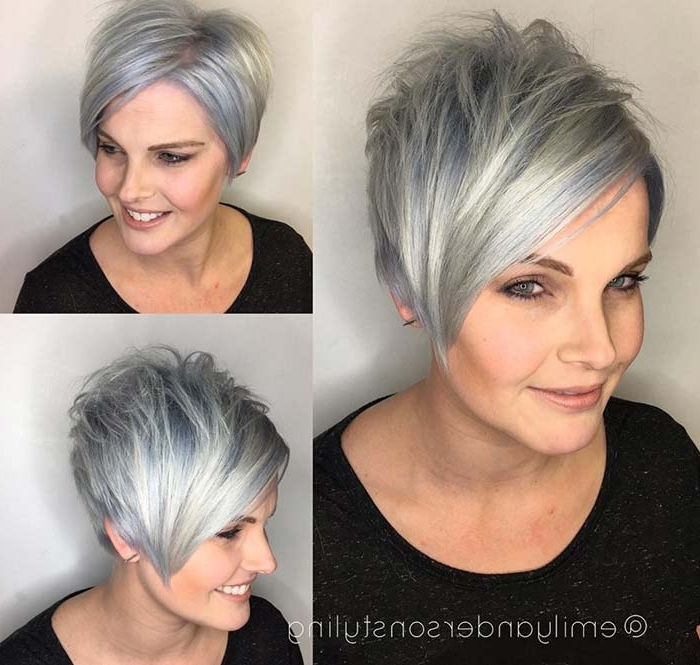 55 Short Hairstyles For Women With Thin Hair | Fashionisers Regarding Most Current Silver And Brown Pixie Hairstyles (View 10 of 25)