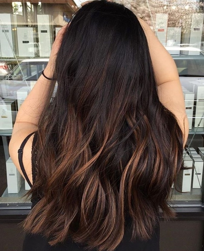 55 Stylish Highlights For Black Hair — Rock Your Locks Intended For Dark Locks Blonde Hairstyles With Caramel Highlights (View 9 of 25)