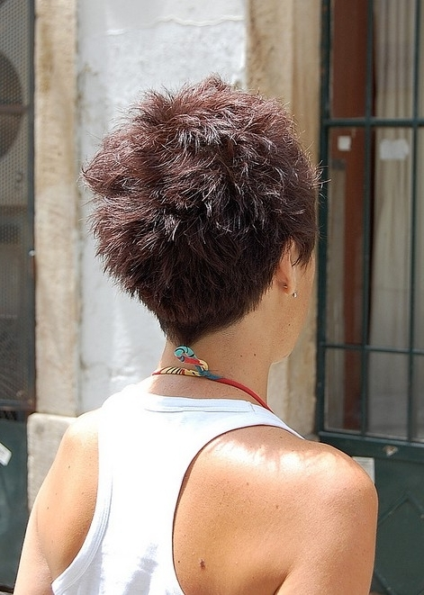 55 Super Hot Short Hairstyles 2017 – Layers, Cool Colors, Curls, Bangs Regarding Newest Stacked Pixie Hairstyles With V Cut Nape (View 13 of 25)