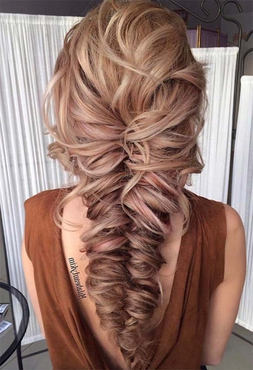 57 Amazing Braided Hairstyles For Long Hair For Every Occasion – Glowsly With Regard To Chunky Ponytail Fishtail Braid Hairstyles (View 14 of 25)