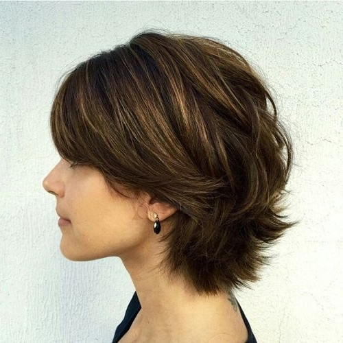 60 Classy Short Haircuts And Hairstyles For Thick Hair Within Best And Newest Brunette Pixie Hairstyles With Feathered Layers (View 2 of 25)