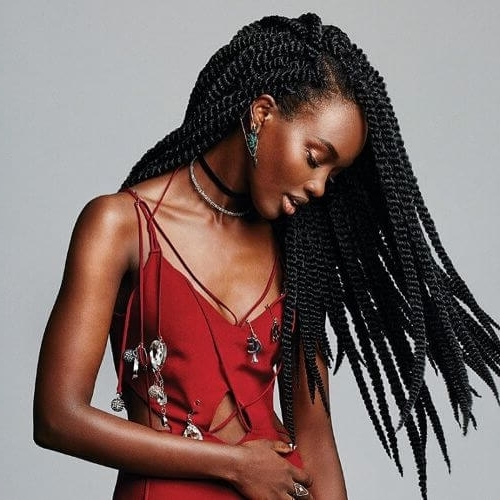 60 Cool Twist Braids Hairstyles To Try Intended For Black Layered Senegalese Twists Pony Hairstyles (View 15 of 25)