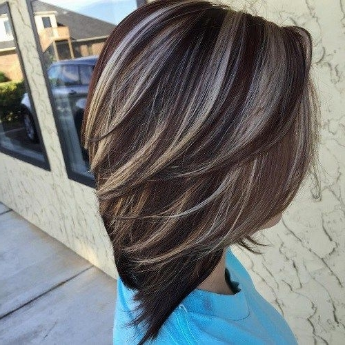 60 Hairstyles Featuring Dark Brown Hair With Highlights | Hair For Dark Brown Hair Hairstyles With Silver Blonde Highlights (View 4 of 25)