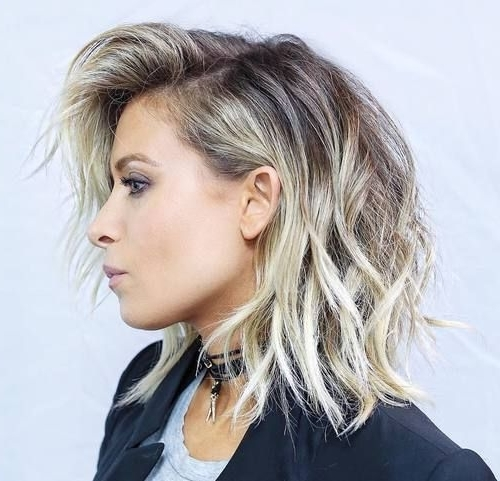 60 Inspiring Long Bob Hairstyles And Haircuts   Hair   Pinterest For Dark And Light Contrasting Blonde Lob Hairstyles (View 20 of 25)