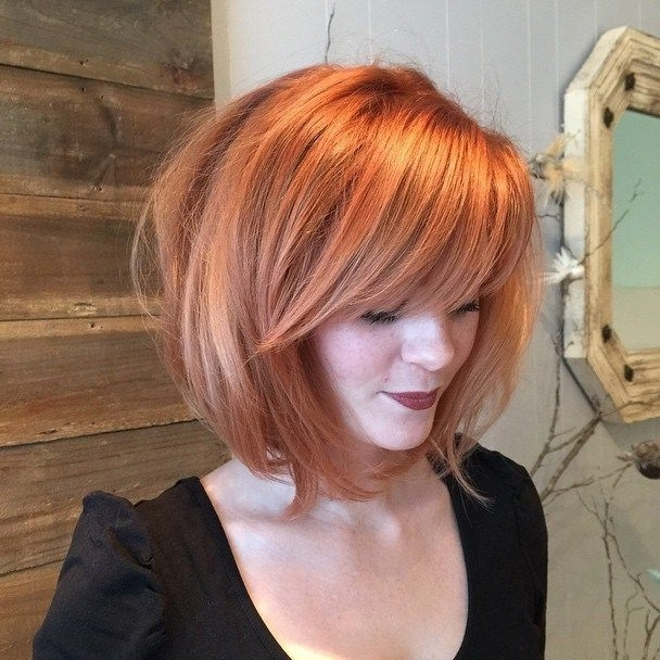 60 Messy Bob Hairstyles For Your Trendy Casual Looks | Hairstyles Throughout Ginger Highlights Ponytail Hairstyles With Side Bangs (View 8 of 25)