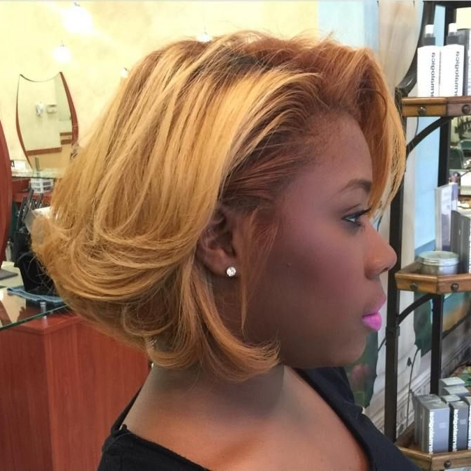 60 Showiest Bob Haircuts For Black Women | Bodacious Bobs Inside Bodacious Blonde Waves Blonde Hairstyles (View 2 of 25)