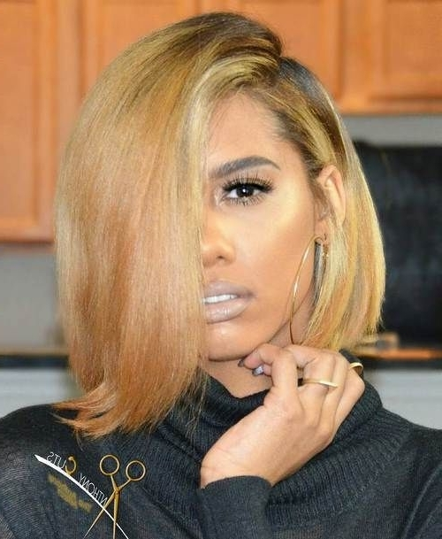 60 Showiest Bob Haircuts For Black Women | New Hair | Pinterest With Regard To Asymmetry Blonde Bob Hairstyles Enhanced By Color (View 16 of 25)