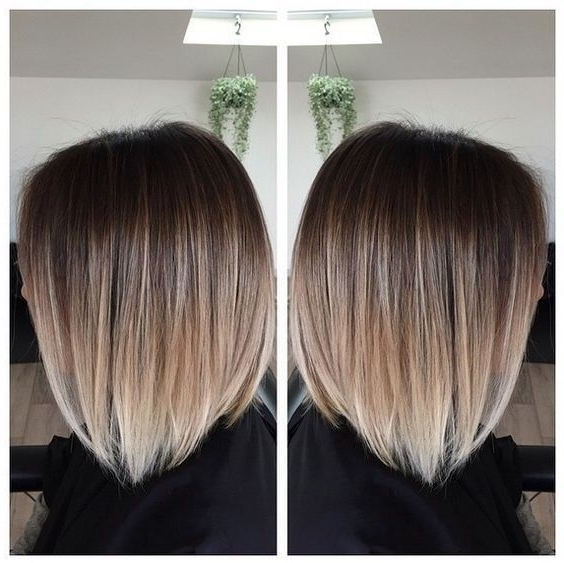 60 Trendy Ombre Hairstyles 2018 – Brunette, Blue, Red, Purple, Green Intended For Brown Blonde Balayage Lob Hairstyles (View 22 of 25)