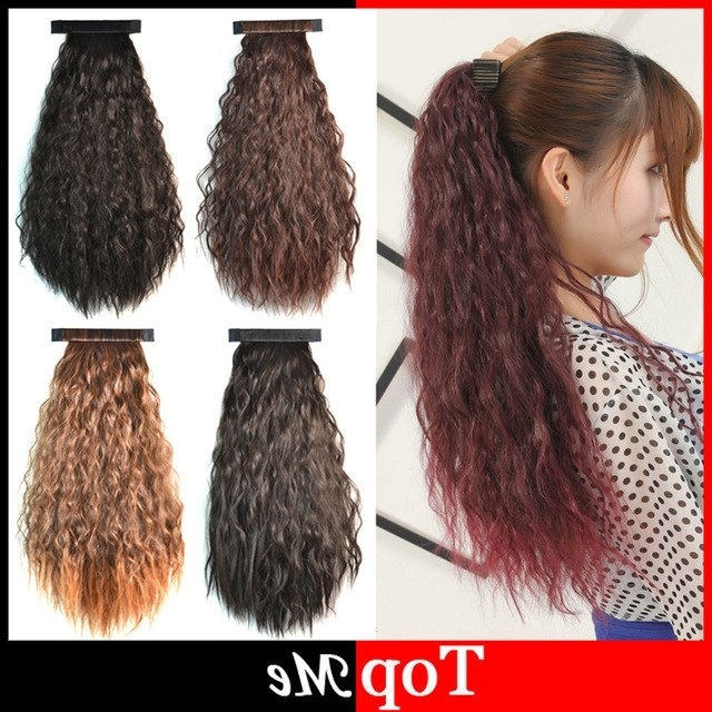 60Cm 7 Colors Women Hair Extensions Afro Kinky Curly Hair Ponytail Throughout Ombre Curly Ponytail Hairstyles (View 9 of 25)