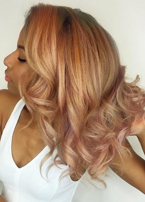65 Rose Gold Hair Color Ideas For 2017 – Rose Gold Hair Tips For Icy Highlights And Loose Curls Blonde Hairstyles (View 19 of 25)