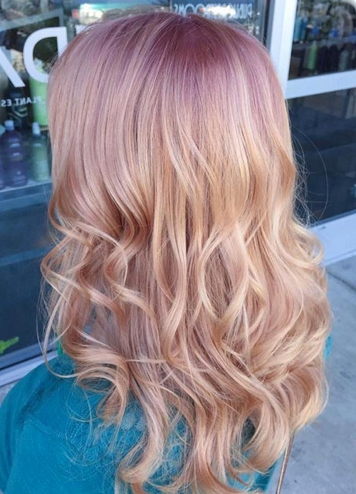 65 Rose Gold Hair Color Ideas For 2017 – Rose Gold Hair Tips Throughout Voluminous Platinum And Purple Curls Blonde Hairstyles (View 14 of 25)