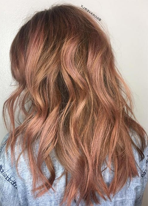65 Rose Gold Hair Color Ideas For 2017 – Rose Gold Hair Tips With Golden Bronze Blonde Hairstyles (View 10 of 25)