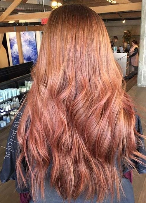 65 Rose Gold Hair Color Ideas For 2017 – Rose Gold Hair Tips With Regard To Golden Bronze Blonde Hairstyles (View 20 of 25)