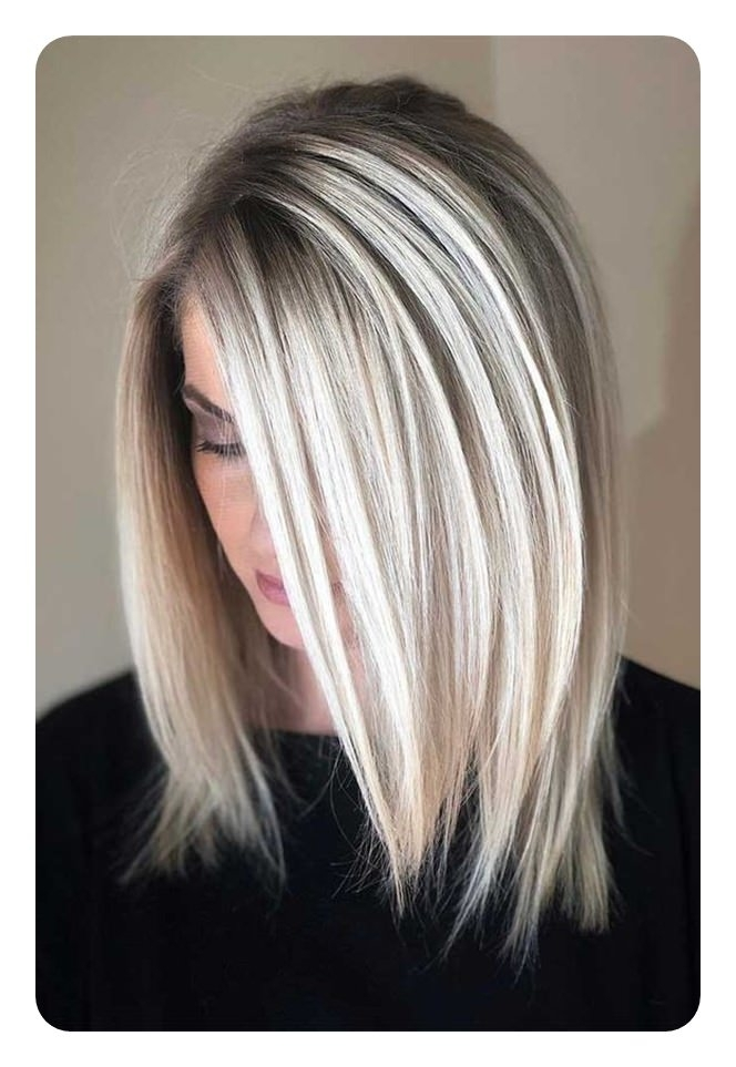66 Beautiful Long Bob Hairstyles With Layers For 2018 – Style Easily In Long Blonde Bob Hairstyles In Silver White (View 7 of 25)