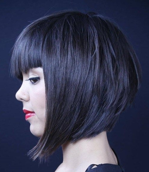 70 Best A Line Bob Hairstyles Screaming With Class And Style | Hair Inside Most Recent Funky Blue Pixie Hairstyles With Layered Bangs (View 2 of 25)