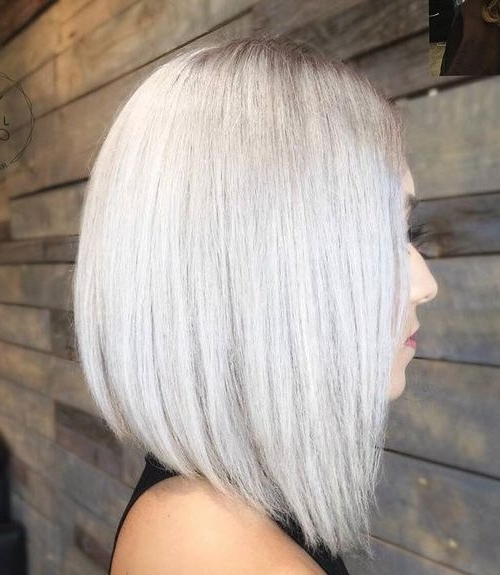 70 Best A Line Bob Hairstyles Screaming With Class And Style Inside Long Blonde Bob Hairstyles In Silver White (View 2 of 25)