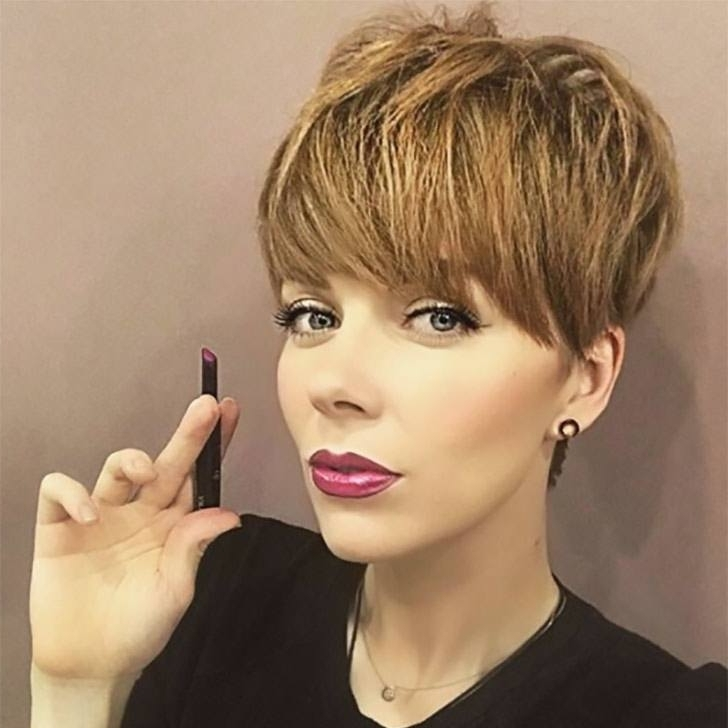 70 Best Pixie Cuts For 2018 In Trend Now Regarding Feathered Cut Blonde Hairstyles With Middle Part (View 16 of 25)