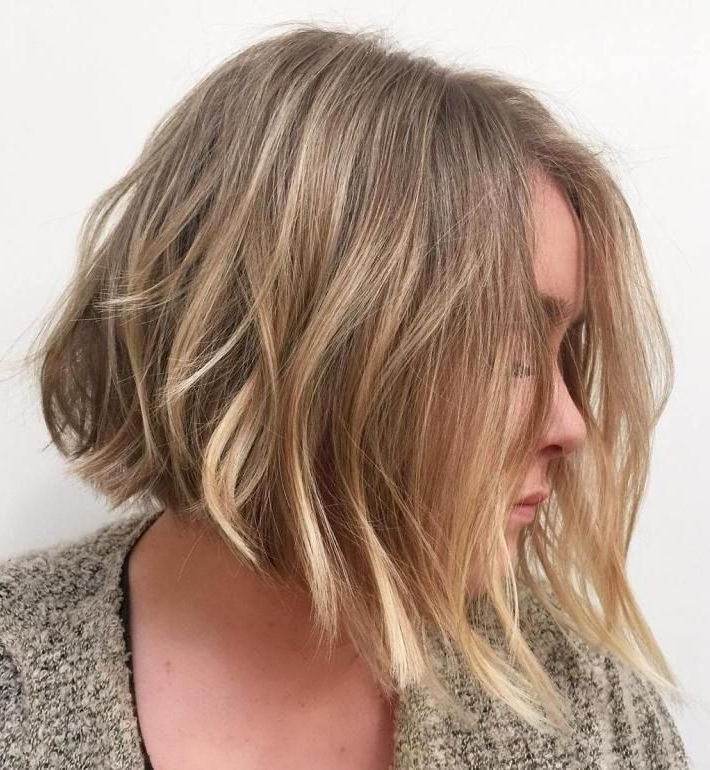 70 Devastatingly Cool Haircuts For Thin Hair | Dark Blonde Balayage For Subtle Dirty Blonde Angled Bob Hairstyles (View 17 of 25)