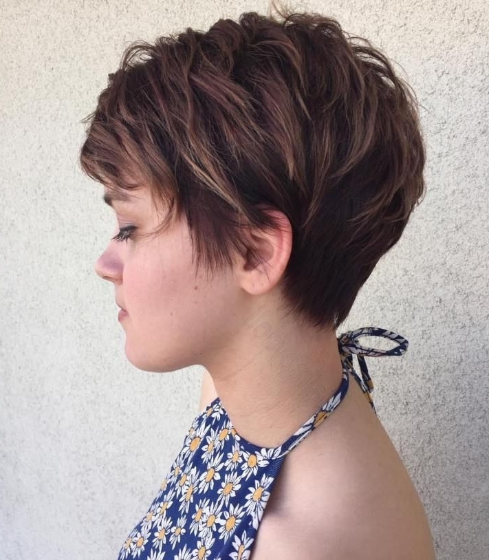 Featured Photo of Brunette Pixie Hairstyles With Feathered Layers