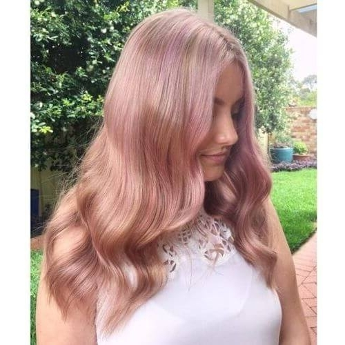 71 Alluring Rose Gold Hair Color Ideas To Try In 2018 In Rosewood Blonde Waves Hairstyles (View 11 of 25)